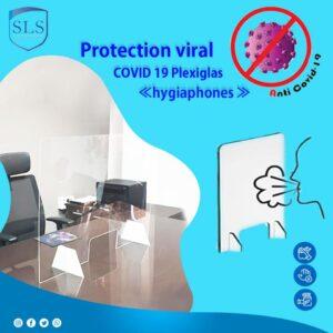 Ecran de protection viral en Plexiglas « hygiaphones » contre la projection des Virus des germes… « lors des contacts avec vos visiteurs »